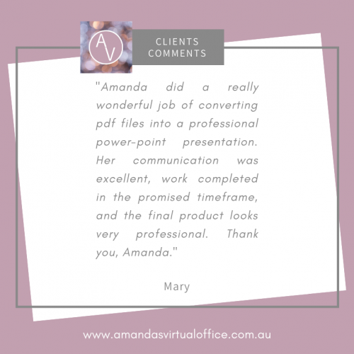 Client Comments Mary